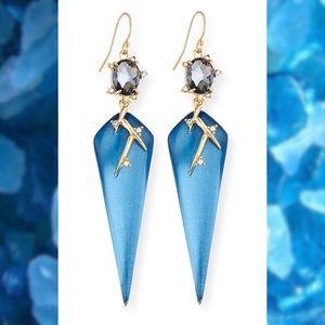 NWT  Blue Satellite Crystal Thorn Drop Earring